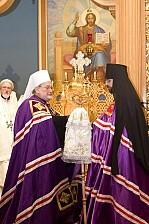 Metropolitan Constantine presents Archpastoral staff to Bishop Daniel. Parma, OH. 10 May, 2018